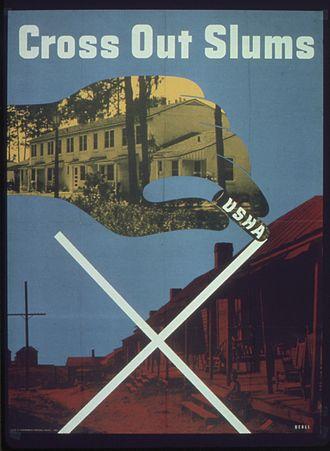"United States Housing Authority - USHA poster, ""Cross out slums"""