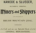 """KANODE & SLUSSER, Slusser's Virginia, Miners and Shippers and dealers in BRUSH MOUNTAIN COAL"" ad detail, Virginia Tech Bugle 1897 (page 193 crop).jpg"