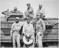 """Seeking to rescue a Marine who was drowning in the surf at Iwo Jima, this sextet of Negro soldiers narrowly missed deat - NARA - 532547.tif"