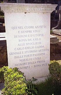 §Gadda, Carlo Emilio (1893-1973) - Tomba al Cimitero acattolico, Roma - Foto di Massimo Consoli 01-4-2006 01.jpg