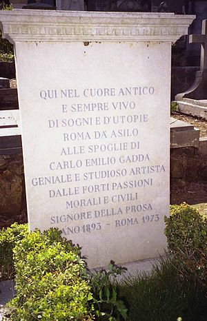 Carlo Emilio Gadda - Gadda's grave in the Non-Catholic Cemetery.. Picture by Massimo Consoli.