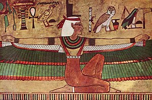 Isis - Isis depicted with outstretched wings (wall painting, c. 1360 BCE)