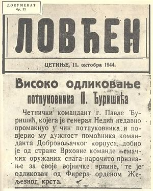Pavle Đurišić - Entitlement document for the award to Đurišić of the Iron Cross – 2nd Class. (left) Front page of Lovćen reporting on the award (right)