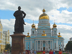 Saransk - The statue of Fyodor Ushakov and Cathedral of St. Theodore Ushakov