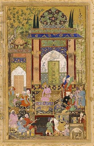 Mughal painting - Image: Фаррух Бек Бабур принимает придворных. Бабурнаме. 1589. Гал. Саклера, Вашингтон