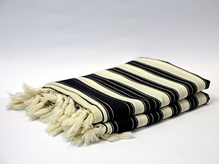 Tallit fringed shawl traditionally worn by religious Jews