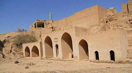 The Syriac Orthodox Saint Ahoadamah Church was a 7th-century church building in the city of Tikrit, one of the oldest in the world until its destruction by the Islamic State of Iraq and the Levant on 25 September 2014. lknys@ lkhDr Hd~ qdm lkny's lsryny@ fy l`lm tq` wsT mdyn@ tkryt tm tfjyrh ywm lkhmys 25-9-2014.jpg