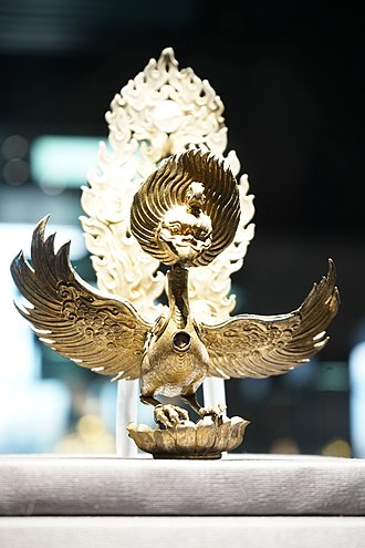 Dali Kingdom - Gilt Silver Statue of Ganruda Inlaid with Crystal Beads, found at the Qianxun Pagoda of Chonegsheng Temple, exhibited at Yunnan Provincial Museum.