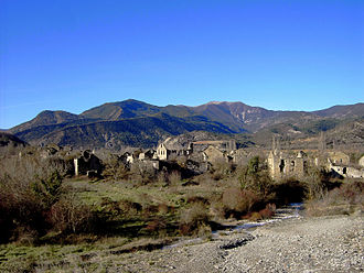 Solana Valley - View of Jánovas, one of the abandoned villages in the Solana Valley.