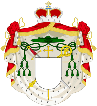 Arms of a Prince-Bishop with components from both princely and ecclesiastical heraldry. 05 CoA Prince-Bishop 02 - mantle no scroll.png