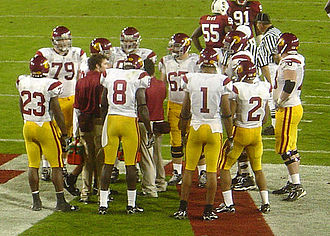 2006 USC Trojans football team - The 2006 Trojans in a huddle during a game against Stanford