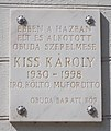 116 Lajos Street, Károly Kiss plaque, 2020 Óbuda.jpg