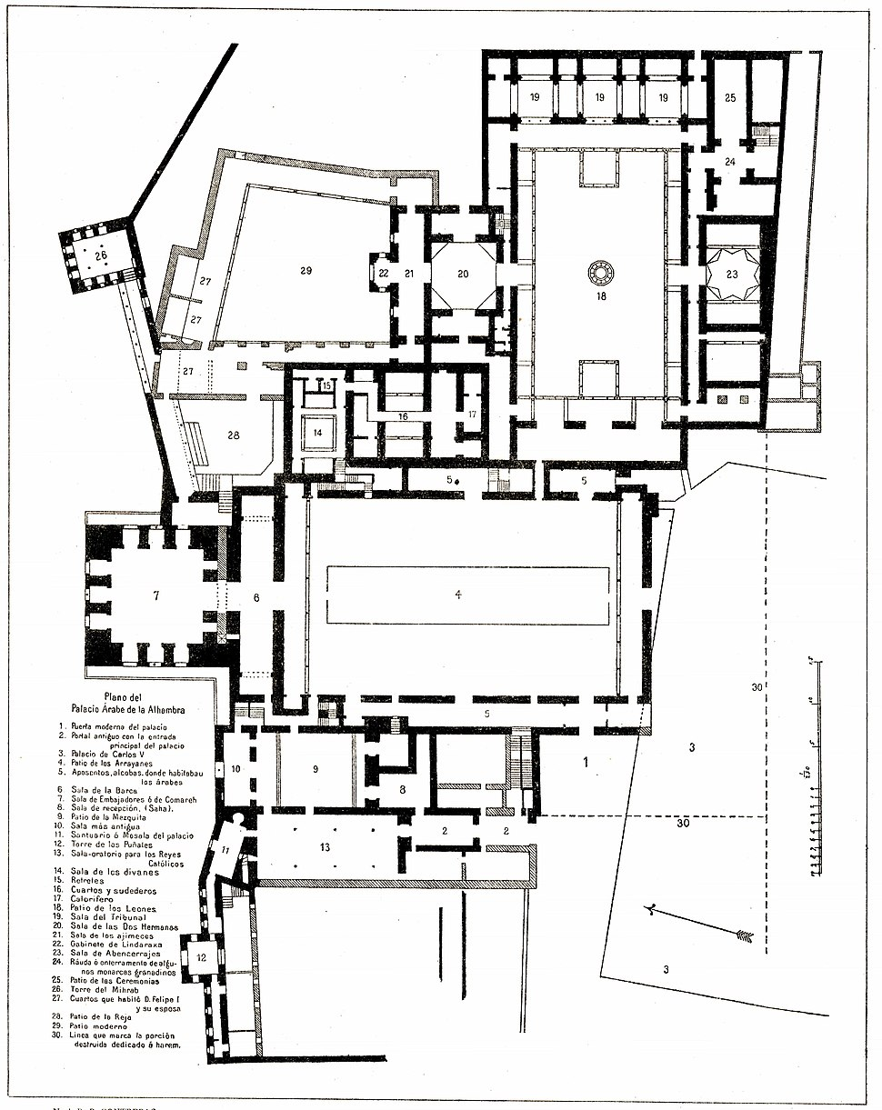116 Tafel 6 Grenada Alhambra - Plano del Palacio Arabe
