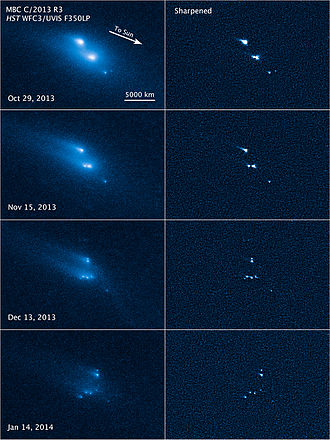 Extinct comet - Disintegration of asteroid P/2013 R3 observed by the Hubble Space Telescope between late-October 2013 and early-January 2014.