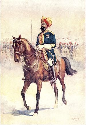 20th Lancers (British Indian Army) - An officer of the 14th Murray's Jat Lancers. Watercolour by AC Lovett, 1910.