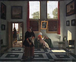 Pieter Janssens Elinga - Interior with painter, reading lady and maid recurring, 1668, Städelsches Kunstinstitut