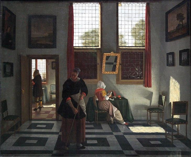 Datei:1668 Elinga Interieur mit lesender Dame und kehrender Magd ...