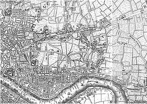 East End of London - The East End in 1741–5, as depicted on John Rocque's Exact Survey of the city's of London Westminster ye Borough of Southwark and the Country near ten miles round. London is expanding, but there are still large areas of fields to the east of the City.