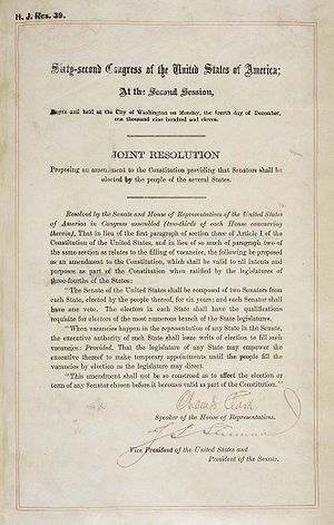 Seventeenth Amendment to the United States Constitution - The Seventeenth Amendment in the National Archives