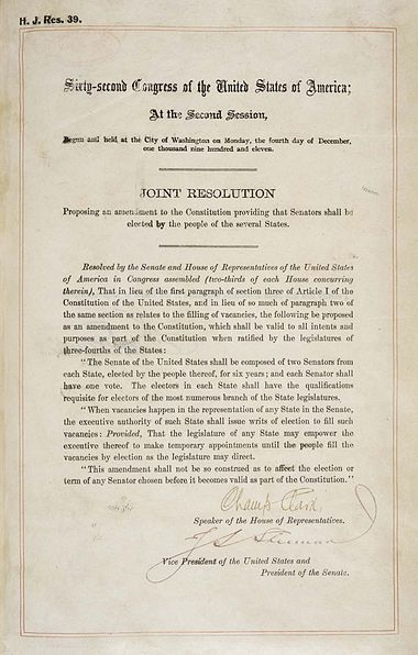 Seventeenth Amendment To The United States Constitution Wikiwand
