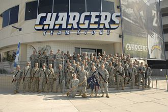 184th Infantry Regiment (United States) - Soldiers from Company C, 1–184th Infantry pose for a photo at Qualcomm Stadium on 29 October 2007.