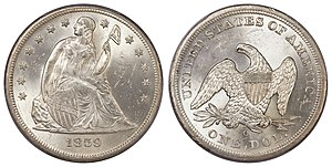 Seated Liberty dollar - Image: 1859 O $1