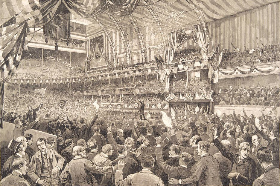 1888 Republican National Convention in session in the Auditorium Building Chicago Ill (cropped)