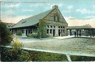 Allston - Allston Railroad Station, about 1909, currently a Regina Pizzeria