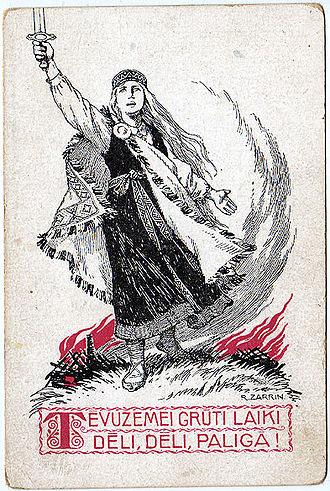 Rihards Zariņš - World War I propaganda postcard by Zariņš