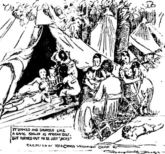 Breastfeeding in public - Woman in center is feeding her baby in a tent city erected in 1920 by the Red Cross in St. Louis, Missouri, so city families could get away from the August heat. (Drawing by Marguerite Martyn of the St. Louis Post-Dispatch.)