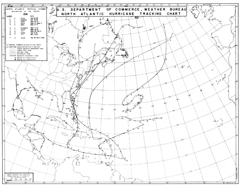 File:1954 Atlantic hurricane season map.png