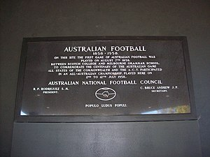 1958 Melbourne Carnival - The stone laid at the Melbourne Cricket Ground to commemorate the Centenary Carnival