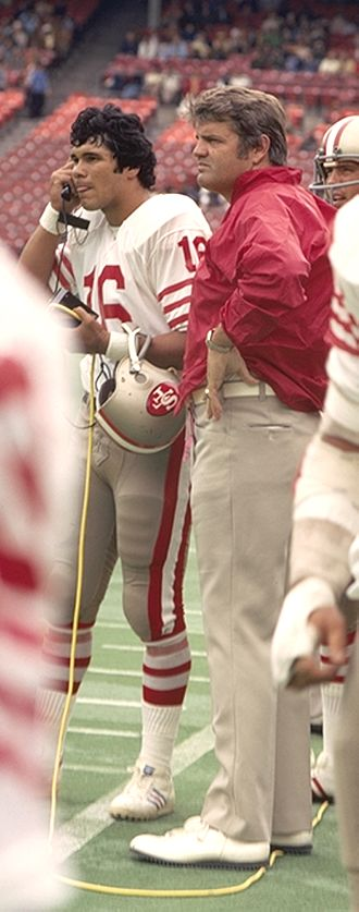 Monte Clark - Jim Plunkett playing for the San Francisco 49ers with Head Coach Monte Clark at Candlestick Park, San Francisco.