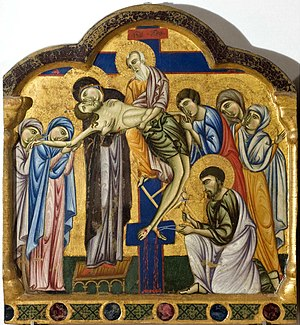 Master of Saint Francis - Image: 1 Master of Saint Francis, Double sided Polyptych. Deposition. c.1272. National Gallery of Umbria, Perugia