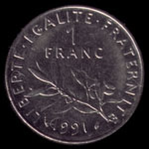Franc - 1 French franc 1991 coin reverse