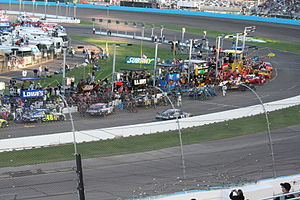 2007 Subway Fresh Fit 500 - Pit stops taking place during the race.