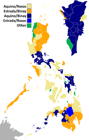 Aquino–Binay Campaign, 2010 - Winning presidential and vice presidential candidates per province/city in the elections. Note that the two positions are voted separately and voters can split their votes.