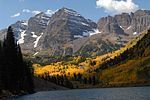 The Maroon Bells and Maroon Lake in fall.