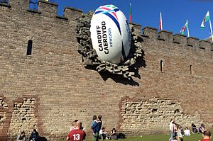 Wales at the Rugby World Cup - A giant promotional rugby ball was placed on Cardiff Castle as part of the 2015 Rugby World Cup