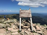 2017-07-26 12 10 33 Sign marking the summit of Mount Katahdin's Baxter Peak in Baxter State Park, Piscataquis County, Maine.jpg