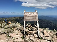 2017-07-26 12 10 33 Sign marking the summit of Mount Katahdin's Baxter Peak in Baxter State Park, Piscataquis County, Maine.jpg