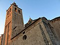 246 Monestir de Sant Cugat, façana sud, campanar i capçalera.JPG
