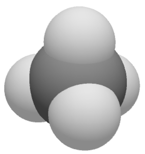 Van der Waals surface - Methane, CH4, space-filling, van der Waal's-based representation, carbon (C ) in black, hydrogen (H) in white. In chemistry, a space-filling model is a type of three-dimensional (3D) molecular model where the atoms are represented by spheres whose radii are, either as van der Waals radii or otherwise, proportional to the radii of the atoms. Center-to-center distances of the atoms are proportional to the distances between the atomic nuclei, all in the same scale. Atoms of different chemical elements are usually represented by spheres of different colors, see below.