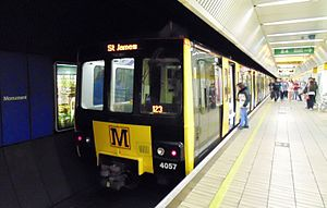 Tyne and Wear Metro - Metro train at Monument Metro station, one of the network's principal underground stations.