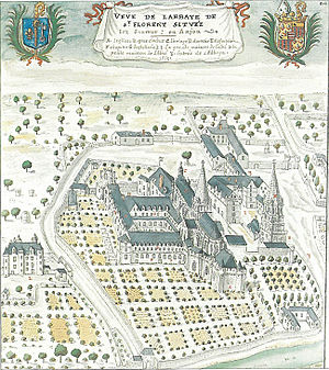 Abbey of Saint-Florent de Saumur - View of the abbey of Saint-Florent de Saumur in 1699.