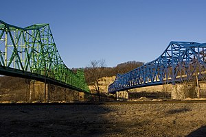 Coal Grove, Ohio - Twin bridges linking Coal Grove to Ashland