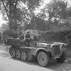6th Airborne Division advance to the River Seine - A captured German half track mounting a 20 mm gun, which was used by the 6th Airborne Division to shoot down an attacking aircraft on 28 August 1944