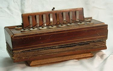 Eight-key bisonoric diatonic accordion (c. 1830) 8 key accordion.JPG