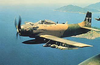 602nd Special Operations Squadron - A Douglas A-1H Skyraider of the 602nd Special Operations Squadron over Vietnam in June 1970