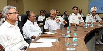 Devendra Kumar Joshi - Admiral D. K. Joshi (centre) with the then Defence Minister A. K. Antony and the then Defence Secretary Shashikant Sharma (extreme-left).